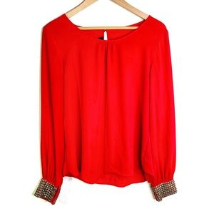 BCX Red Blouse With Bronze Cuffs - Sz. M